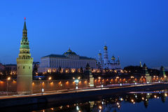 Moscow Kremlin (with Moscow-River, and it's embankment). Shot from the Big Stone Bridge royalty free stock photo
