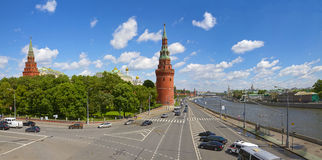 Moscow Kremlin and Moscow river on a sunny day. Panoramic view of the Moscow Kremlin and Moscow river on a sunny day stock images