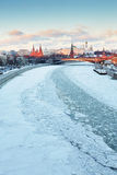 Moscow Kremlin and Moscow river in winter Royalty Free Stock Photos