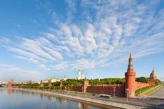 Moscow Kremlin on Moscva River shore in sunny morning Royalty Free Stock Image