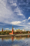 Moscow Kremlin. (Moskovskiy Kreml), is historic fortified complex at heart of Moscow, overlooking Moskva River to south. Complex serves as official residence of stock photos