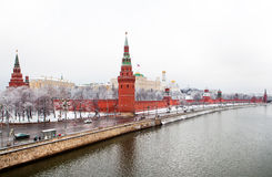 Moscow kremlin and the moskva-river Stock Images