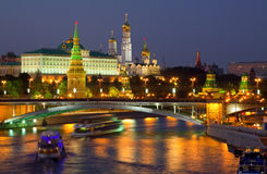 Moscow Kremlin  and   Moskva River in night Royalty Free Stock Photography