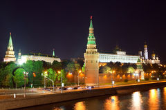 Moscow Kremlin  and   Moskva River in night Royalty Free Stock Photo