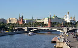 Moscow Kremlin and the Moskva River quay with cruise boats, Russia Royalty Free Stock Image