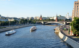 Moscow Kremlin and the Moskva River quay with cruise boats, Russia Royalty Free Stock Photo