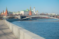Moscow Kremlin and Moskva River Stock Photo