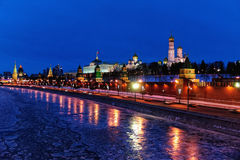 Moscow Kremlin and Moskva River on Winter Holidays Night royalty free stock image