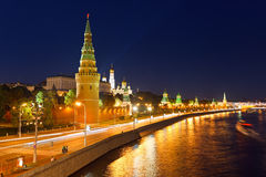 Moscow kremlin at night. Russia Royalty Free Stock Images
