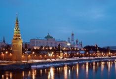 The Moscow Kremlin at night Royalty Free Stock Images