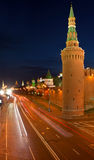 Moscow Kremlin at night. Panoramic view of Moscow Kremlin at night, Russia Royalty Free Stock Photos