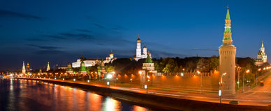 Moscow Kremlin at night. Panoramic view of Moscow Kremlin at night, Russia Stock Photography