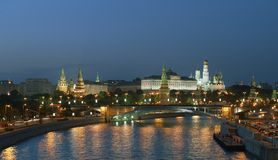 Moscow Kremlin at night Stock Photography