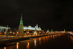 Moscow Kremlin at night. Moscow Kremlin at winter night. Panoramic view with the Bolshoj Kamenny bridge Royalty Free Stock Photos