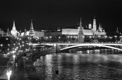 Moscow Kremlin at night. Black and white photo. Royalty Free Stock Photography