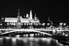 Moscow Kremlin at night. Black and white photo. stock photos