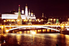 Moscow Kremlin at night. Color photo. Royalty Free Stock Photography