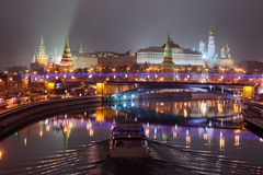 Moscow Kremlin night lights Stock Images