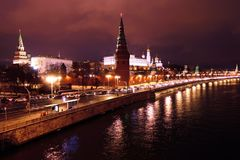 Moscow Kremlin at night. The Moscow river embankment. Royalty Free Stock Photos
