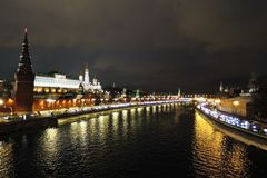 Moscow Kremlin at night. Stock Images