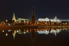 Moscow Kremlin at night with reflection on the water of Moskva river Royalty Free Stock Photo
