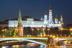 Moscow Kremlin at night, Russia royalty free stock image