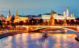 Moscow Kremlin at night, Russia with river royalty free stock photography