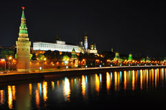 Moscow Kremlin night scence. Scenic view of Kremlin at night, Moscow, Russian federation Royalty Free Stock Photography