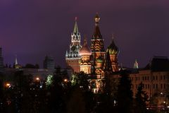 Moscow Kremlin at night time. Moscow Kremlin with clock at night time royalty free stock photos