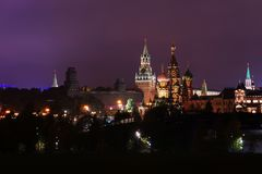 Moscow Kremlin at night time. Moscow Kremlin with clock at night time stock photo