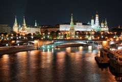 Moscow Kremlin by Night. A view on the Moscow Kremlin by night Stock Photography