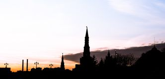 Moscow Kremlin at Night -- view from new Zaryadye Park, urban park located near Red Square in Moscow, Russia Royalty Free Stock Photos