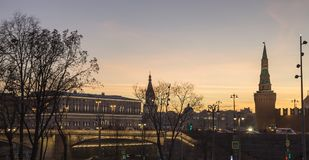 Moscow Kremlin at Night -- view from new Zaryadye Park, urban park located near Red Square in Moscow, Russia Royalty Free Stock Images