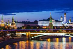 Moscow Kremlin (night view, view from the Patriarchal bridge), R Stock Images