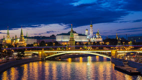 Moscow Kremlin (night view, view from the Patriarchal bridge), R Stock Photo