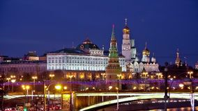 Moscow Kremlin night view stock video footage