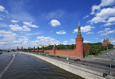 The Moscow Kremlin over river Royalty Free Stock Photography