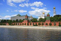 The Moscow Kremlin over river Royalty Free Stock Images