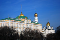 Moscow Kremlin palace, Ivan Great bell tower, Archangels cathedral. Royalty Free Stock Photo