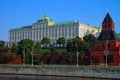 Moscow Kremlin palace and Taynitskaya tower Stock Photography