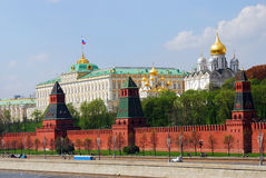 Moscow Kremlin panorama. The Big Palace and old orthodox churches. Stock Photos