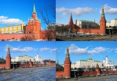 Moscow Kremlin panorama collage. Royalty Free Stock Photos