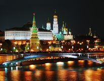 Moscow Kremlin panorama at night Stock Images