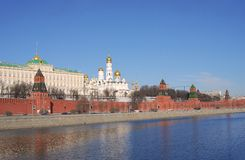 Moscow Kremlin panorama in a sunny day. Royalty Free Stock Image