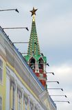 Moscow Kremlin. Red ruby star on the roof top of a tower. Royalty Free Stock Image