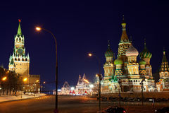 Moscow Kremlin at Red Square in night Stock Image