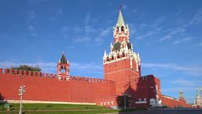 Moscow Kremlin, Red square panorama, Spasskaya tower at morning. Moscow Kremlin, morning, Spasskaya tower stock video
