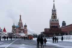 Moscow Kremlin, Red Square, St. Basil cathedral. MOSCOW, FEBRUARY 5, 2018: Moscow Kremlin, Red Square, Saint Basil Cathedral in the cold overcast winter day Stock Image