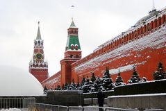 Moscow Kremlin. Red square in winter. Royalty Free Stock Images