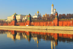 Moscow Kremlin and reflection in Moskva river Stock Images